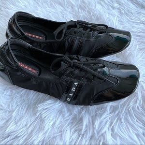 Prada Black Patent Leather Flats Lace up Sneakers